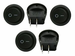 5 Pack 6a 250v 10a 125v Spst On Off 2 Position Mini Round Rocker Switch 12v