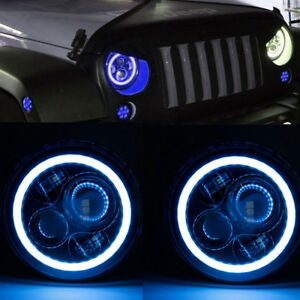 Pair 7 Led Headlight Blue Halo Angle Eye For Jeep Wrangler Jk Tj Lj Cj Harley