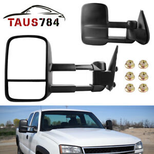 Pair Tow Side Mirrors Manual For 99 06 Chevy Silverado Sierra Truck 1500 2500