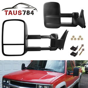 Pair For 88 98 Chevy Gmc C K 1500 2500 3500 Pickup Manual Tow Mirrors Trailer
