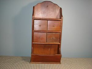 Vintage Wood Hanging Wall 4 Drawer Spice Candle Apothecary Box