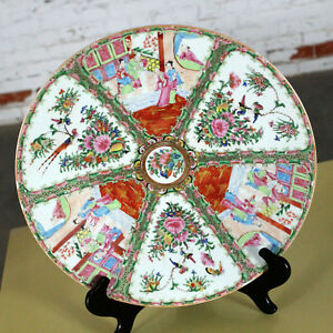 Large Antique Chinese Qing Rose Medallion Porcelain Charger Or Platter Tradition