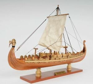 Drakkar Dragon Viking Sailboat Handmade Reproduction Wood Model Ship Assembled