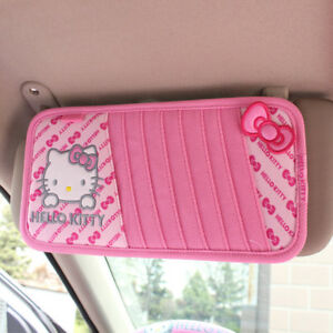 1x Cute Hello Kitty Bow Car Cd Visor Cover Cartoon Car Interior Accessories