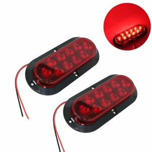 2x 10led 6 Red Oval Surface Mount Brake Stop Tail Light Car Truck Trailer Tmh