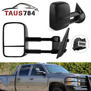 Pair Towing Mirrors Heated For 07 13 Chevy Silverado Gmc Sierra 1500 2500 Nnbs