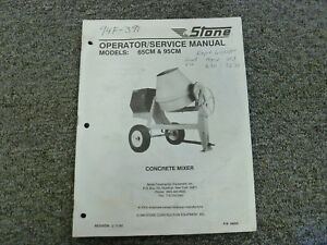 Stone 65cm 95cm Concrete Mixer Operator Parts Catalog Service Repair Manual