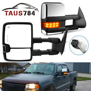 For 99 02 Chevy Silverado Gmc Sierra Tow Mirrors Chrome Power Heated Led Signals