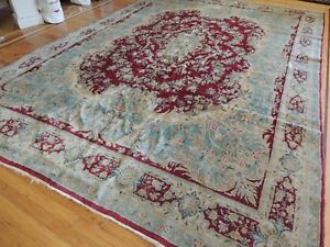 Stunning Antique Persian Kerman 9x12 Oriental Area Rug Ruby Red Blue Wool