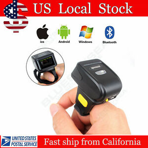 Wearable 1d Ring Btooth Laser Barcode Scanner Data Reader For Phone Windows
