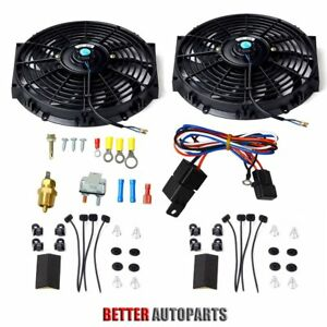 Dual 12 Inch Universal Electric Radiator Cooling Fan Thermostat Mount Kit Black