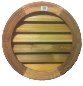 18 In Wood Round Louver Vent Siding Natural Cedar wood Brickmould Ventilation