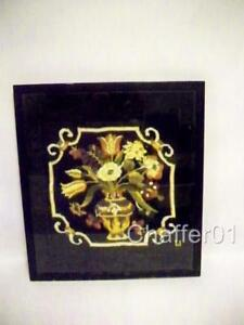 Victorian Woolwork Embroidery Of A Flower Basket With Velvet Border