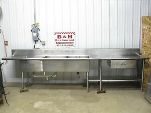 149 Stainless Steel Heavy Duty Work Table Three Compartment 3 Bowl Sink 12 5