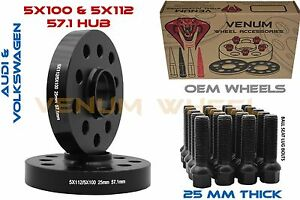 2pc Audi Volkswagen 5x100 5x112 25mm 1 Thick Hubcentric Wheel Spacer Kit 57 1