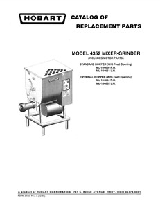 Hobart Pdf Catalog Of Replacement Parts For 4352 Mixer Grinder
