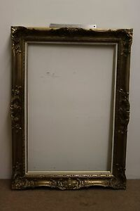 Vintage Golden Aesthetic Eastlake Victorian Style Wood Ornate Picture Frame