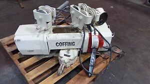 Coffing 2 Ton Electric Cable Hoist Model Unknown W Motorized Trolley