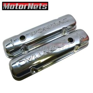 1955 81 Pontiac Logo Polished Aluminum Valve Cover Stock 287 325 326 400 455