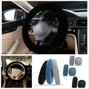 3x Non slip Car Soft Wool Handbrake Gear Shift Cover Fuzzy Steering Wheel Cover