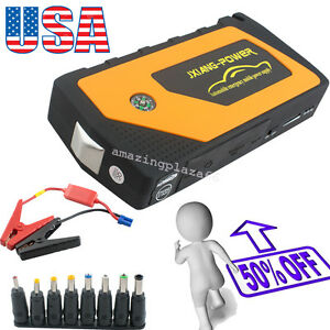 Battery Jump Starter 600a Peak Portable Car Suv Charger Booster Jumper Cables Us