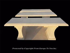 Beautiful Hand Carved Travertine Outdoor Estate Benches Nc20 3