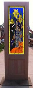 Custom Design Hand Made Mahogany Wood Stained Glass Cat Entry Door Jh364