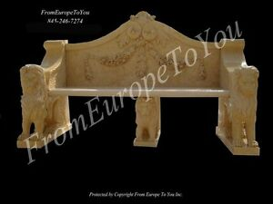 Nice Hand Carved Marble Lion Marble Bench 69