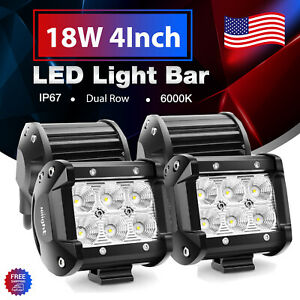 Nilight 4pcs 18w 4 Flood Led Light Bar Driving Off Road Lights For Tractor 4wd