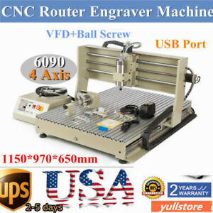 4axis Usb Cnc 6090 Router Engraver Engraving Machine Water Cooling 1 5kw Vfd