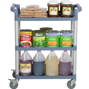 32 X 16 X 38 Gray Plastic 3 Shelf Restaurant Utility Commercial Bus Cart