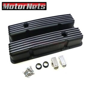 Sbc Finned Black Aluminum Valve Cover Tall Small Block Chevy 283 327 350 383 400