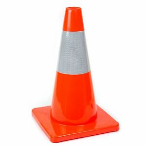 18 Rk Safety Traffic Pvc Cones With 1 Reflective Tape Orange Base Orange