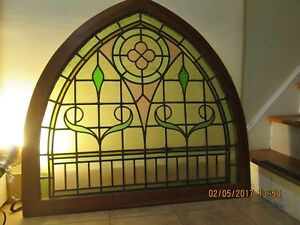 Sweet Antique Stained Glass Arch Transom Framed In Cherry Wood Cherry Frame New