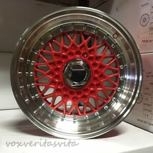 15 Rs Style Wheels Rims Red Fits Honda Civic Prelude Insight Crx Accord
