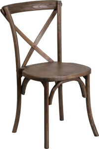 Bistro Style Cross Back Early American Wood Stackable Restaurant Chair