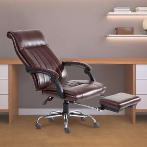 Reclining Chair Racing Style Pu Leather Office Task Desk Seat W Leg Rest Brown