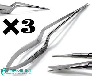 3 Pcs New Micro Scissors 7 5 Yasargil Sharp sharp Straight Surgical Instruments