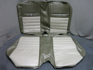 1965 Mustang Deluxe Convertible Pony Back Rear Seat Upholstery Repro Ivy Gold 66