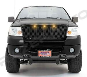 04 08 Ford F150 Raptor Gloss Black Front Hood Mesh Grille Shell Amber 3x Led