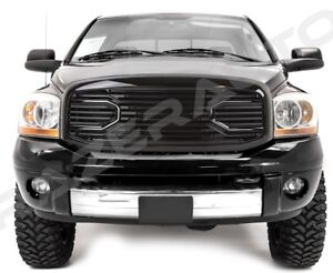 Front Hood Gloss Black Big Horn Replacement Grille shell For 06 09 Dodge Ram