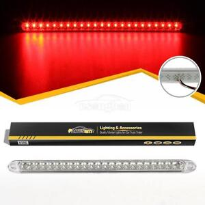 Waterproof Clear Red 23led Stop Turn Tail 3rd Brake Light Bar Truck Trailer 17