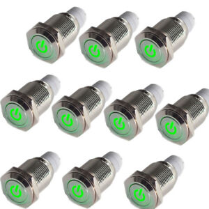 10x 16mm 12v Green Led Lighted Push Button Metal On Off Switch For Car Motor Us