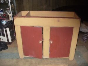 Old Farm House Primitive Dry Sink 2 Door And 2 Shelf Excellent Condition