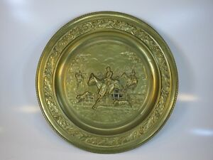 Vintage Decorative English Brass Wall Tray 3 Horses Jumping Dogs Fox Hunting