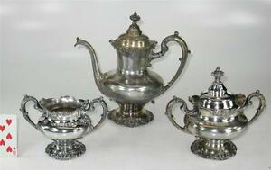 Antique C 1906 Reed Barton Silverplate 3 Piece Tea Or Coffee Set