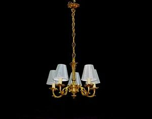Vintage Rococo Style Fixture Brass Chandelier Ceiling Lamp Lighting Early 1900s