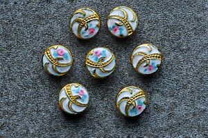 A Set Of 7 Antique Gilt French Enamel Buttons