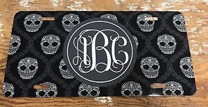 Monogram License Plate Skulls Personalized Car Tag New