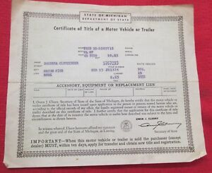 1942 Ford Coupe Vintage Car Historical Memorabilia Document Of Michigan